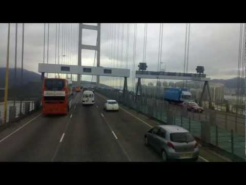 Crossing the Tsing Ma Bridge in Hong Kong